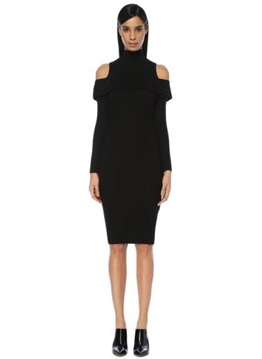 Scenario Omuzları Açık Triko Elbise Siyah